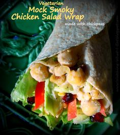 Vegetarian Mock Smoky Chicken Salad Wrap - Full of veggies & made with chickpeas! #MeatlessMonday #lunch