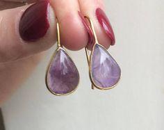 18K Gold Fill Amethyst teardrop earrings - small simple cabochon earrings - February Birthstone jewellery - Chakra gift