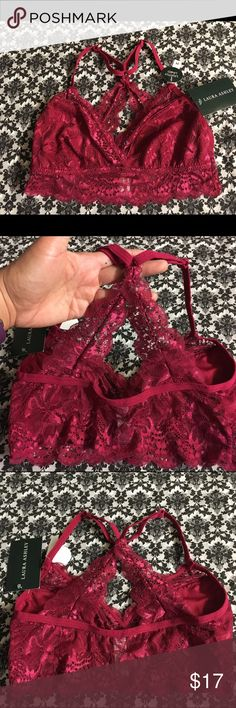 NWT Laura Ashley fashion bra in Spiceberry M. Adorable lace layering bra lightly lined with adjustable straps. Lace criss cross in back. Great for layering under a backless top or dress. Peek a boo bra for off shoulder or low cut tops. ❤️ bundle me❤️️ Laura Ashley Intimates & Sleepwear Bras