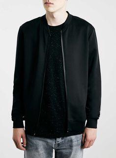 Black Technical Fabric Bomber Jacket
