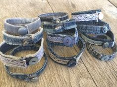 See Cabeau& photo titled Denim and Lace Bracelets. - See Cabeau& photo titled Denim and Lace Bracelets. and other inspiring pictures Which. Denim Bracelet, Fabric Bracelets, Lace Bracelet, Fabric Jewelry, Diy Jeans, Jean Crafts, Denim Crafts, Denim And Lace, Denim Armband