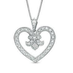1/4 CT. T.W. Diamond Fleur-de-Lis Heart Pendant in Sterling Silver - View All Jewelry - Gordon's Jewelers