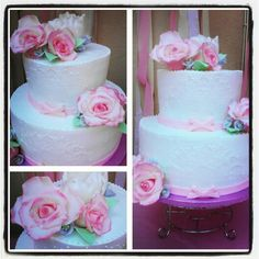 Shabby Chic cake, whip cream, vanilla cake with fondant roses