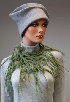 Necklace | Regina Doseth.  Felted merino wool and threads.