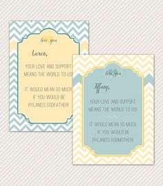DIY Printable Chevron Godparent announcement by OliveYouDesign, $8.00