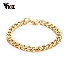 Vnox Men's Chain Bracelet Bangle Gold-color Titanium Steel Metal 8.5inch Classic Party Jewelry