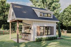 Plan 62925DJ: Modern Farmhouse Backyard Office Plan With Loft Backyard Office, Backyard House, Backyard Cottage, Backyard Sheds, Backyard Buildings, Pool House Shed, Backyard Plan, Tiny House Shed, Backyard Storage Sheds