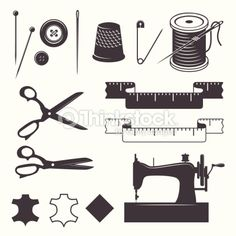 ベクトルアート : Set of sewing desinged elements