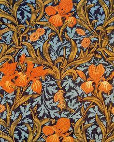 John Henry Dearle 'iris' 1887 'Iris' textile design by John Henry Dearle, produced by Morris Co in Textile Patterns, Print Patterns, Textile Art, Pattern Art, Pattern Design, Art Nouveau, Molduras Vintage, William Morris Art, Art Perle