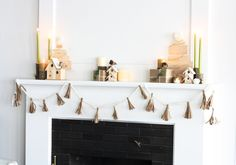 Modern and natural mantle display for JoAnn and HGTV Holiday Home.