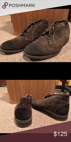 Suede Chukka Boots Suede chukka boots with leather interior. Can be worn with casual attire, or dressed up for a night out. Slight discoloration in the toe area, but it isn't very noticeable and they still have tons of life. Very comfortable! Johnston & Murphy Shoes Chukka Boots