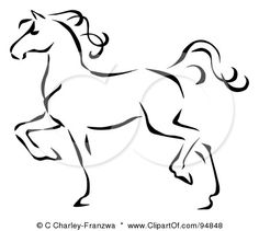 Royalty-Free (RF) Clipart Illustration of a Graceful Black Line Art Trotting… Creature Drawings, Horse Drawings, Animal Drawings, Art Drawings, Horse Outline, Horse Tattoo Design, Horse Sketch, Horse Profile, Clip Art Pictures