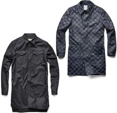 (04a) XL Long Shirt Mens - (04b) A Crotch Denim Trench Coat Mens - G-Star First RAW for the Oceans Collection 2014-2015 Fall Autumn Winter Mens - Bionic Yarn, the Vortex Project, Parley for the Oceans and Pharrell Williams Collaboration - Eco-Thread Fibers Recycled Plastic Bottles Sustainable Denim Jeans Fashion Otto the Octopus Houndstooth Mazarine Indigo Blue Black