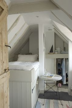 Attic Diy Built In Bed attic remodel master suite. Attic Rooms, Attic Spaces, Tiny Spaces, Attic Bed, Attic Loft, Attic Bathroom, Attic Office, Attic Apartment, Upstairs Loft