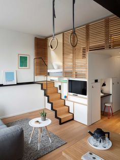 Duurzaam hotel zoku in amsterdam small space interior design small spaces к Small Space Interior Design, Home Room Design, Small House Design, Interior Design Kitchen, Loft Design, Design Design, Studio Apartment Design, Apartment Interior, Small Loft Apartments