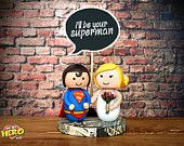 Clark Kent and Bride Cake Topper Weddings Bride and Superman Superhero AWESOME!