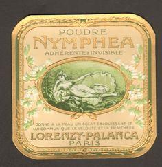 10 ETIQUETTES  PARFUM :  POUDRE NYMPHEA de LORENZY-PALANCA