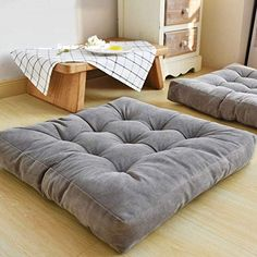 floor pillows HIGOGOGO Solid Square Seat Cushion, Tufted Thicken Pillow Seat Corduroy Chair Pad Tatami Floor Cushion for Yoga Meditation Living Room Balcony Office Outdoor, Grey, Inch Large Floor Cushions, Square Floor Pillows, Round Floor Pillow, Outdoor Floor Cushions, Floor Pillows Kids, Oversized Floor Pillows, Grey Pillows, Throw Pillows, Sofa Pillows