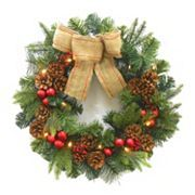 St. Nicholas Square 15-Light LED Pinecone Wreath - Indoor