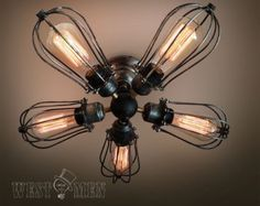 Edison bulb ceiling lamp steampunk handmade vintage industrial ceiling light 2014 new antique 5 lights iron cage ceiling fan lamp CEFAN