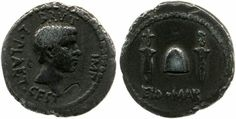 Brutus'Eid.Mart. (Ides of March) silver coin - -  (obverse) Head of Brutus right, bearded; in field, countermark; around, inscription; around, inscription. Border of dots. (reverse) Pileus between two daggers; below, inscription. Border of dots.  State  Roman Republic  Authority  Moneyer: Marcus Junius Brutus. Moneyer: L Plaetorius Cestianus. Culture/period: Roman Republican Republican  Date:   43BC-42BC