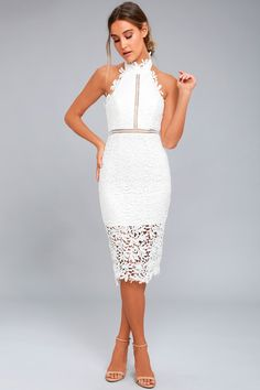 17d9b667930 Divine Destiny White Lace Midi Dress 2 Formal Dresses