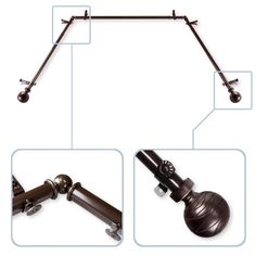 adjustable bay window curtain rods are perfect for mounting valances and curtains over bay windows. Each side is adjustable from 20 to 36 in. and the center piece adjusts from 38 to 72 in. Also available as a double bay window curtain rod. Corner Window Curtains, Bay Window Curtain Rod, Curtain Rod Hardware, Double Rod Curtains, Window Curtain Rods, Hanging Curtains, Window Hardware, Modern Window Treatments, Classic Window