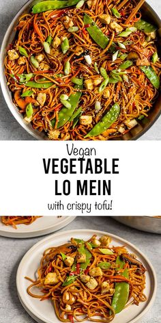 This better-than-takeout Vegan Vegetable Lo Mein with crispy tofu is SO good easy! Use udon noodles, rice noodles, ramen, or spaghetti and pair it with an easy stir-fry sauce recipe for a quick simple Homemade Chinese Food, Chinese Chicken Recipes, Asian Recipes, Beef Recipes, Whole Food Recipes, Cooking Recipes, Chinese Food Vegetarian, Vegetarian Stir Fry Noodles, Vegan Tofu Stir Fry