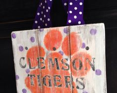 Personalized Wood Sign or Front Door Hanger(Burlap Ribbon Hangers purchased separately in my shop):  Clemson Tiger