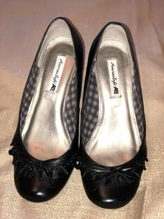 36cb5c74cd American Eagle Leather Women black wedge shoes with little bow. Casual size  7 #fashion
