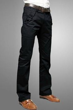 Casual Style Solid Color Zipper Fly Pocket Embellished Straight Leg Cotton Long Pants For Men - Black - 30