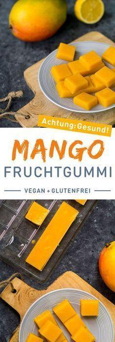 DIY : Gesunde Fruchtgummis ganz leicht selber machen. 2 reife Mangos Saft einer Zitrone 1 Tl Agar-Agar (oder weniger wenn eure Mangos klein sind)