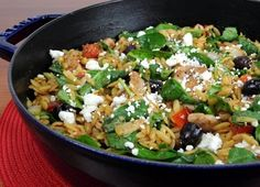 Chicken, Orzo and Spinach Skillet