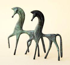 Greek Horse Sculpture in Bronze, Equine Decor, Greek Geometric Metal Art…