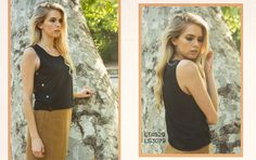 Look 6: Snap Button Black Tank with Faux Suede Camel Skirt #fw2015 #lookbook #cluce