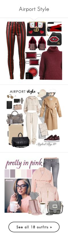 """""""Airport Style"""" by ms-millie ❤ liked on Polyvore featuring Gucci, BY. Bonnie Young, Miu Miu, Casetify, Beau Souci, Tumi, Concrete Minerals, airportstyle, Ivy Park and Forever 21"""