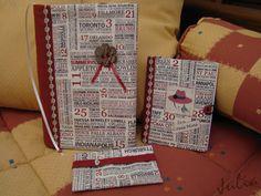 Conjunto de funda de libro, agenda y funda para los pañuelos en tela