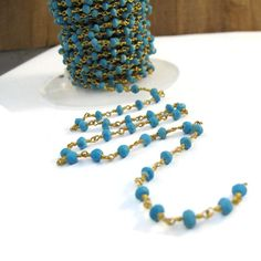 Turquoise Rosary Chain Gold Plated Wrapped Beaded by LillysBeadBox