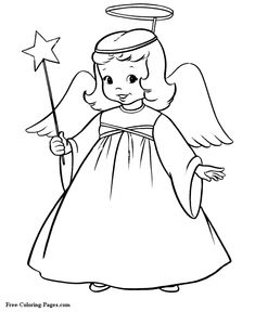 Christmas Angel Coloring For Preschoolers