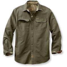 L.L.Bean Men's Base Camp Shirt (80 CAD) ❤ liked on Polyvore featuring men's fashion, men's clothing, men's shirts, men's casual shirts, mens camo shirt, mens button shirts, mens work shirts, mens casual short-sleeve button-down shirts and mens long sleeve casual shirts
