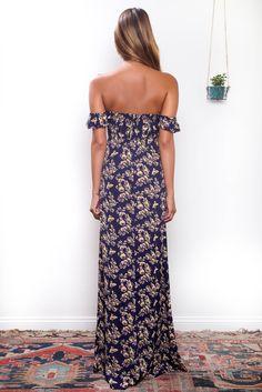 Flynn Skye: Bardot maxi dress in twilight | Soleil Blue