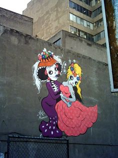 street art for day of the dead in mexico.