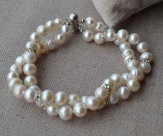 pearl jewelry pearl bracelet crystal bracelet2 by goodgoodjewelry, $12.00