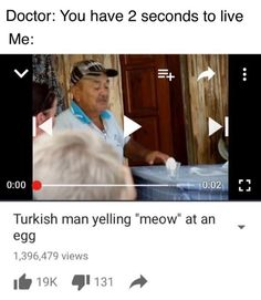 """Doctor: you have two seconds to live. Me: Turkish man yelling """"meow"""" at an egg"""