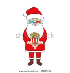 Santa Claus with popcorn and 3D glasses. Christmas vector illustration.