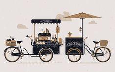 0924c559f9 Descargar - Carritos bicicleta café y helado — Ilustración de Stock   66481707 Tiendas De Comida