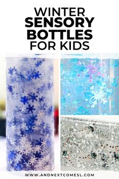 Find out how to make calming winter sensory bottles that can be added to your child's calm down kit. There are so many awesome DIY calm down bottles to inspire you! Sensory Bottles For Toddlers, Sensory Bottles Preschool, Sensory Activities For Autism, Glitter Sensory Bottles, Winter Activities For Kids, Sensory Bags, Infant Activities, Sensory Diet, Emotions Activities