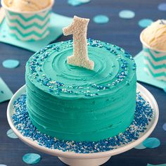 Your little one will love diving into this First Birthday Smash Cake. With a bold teal icing and a cute candy topper, this smash cake is sure to be a hit at the party! Don't forget your camera, though…with a hungry 1-year-old, this cake won't last long!