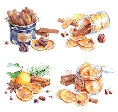 Christmas & New Year watercolor food