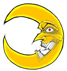 Weird and mad bright yellow Moon. Yellow Moon, Bright Yellow, Moon Tattoo Designs, Deities, Tattoos For Guys, Scary, Mad, Weird, Fantasy